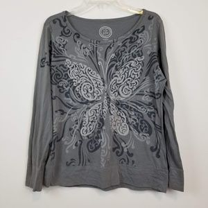 Life is good long sleeve butterfly print top